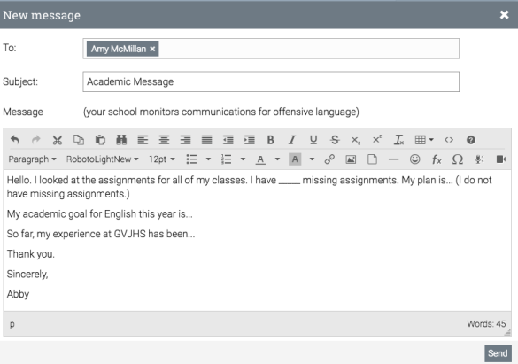Sample academic message