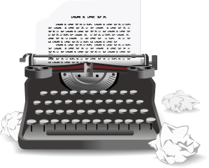 typewriter with crumpled paper