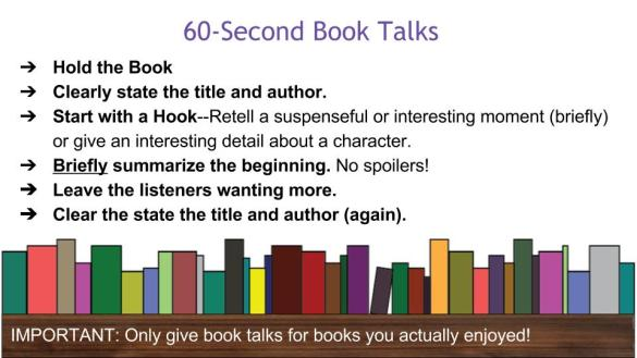Requirements for 60-Second Booktalk