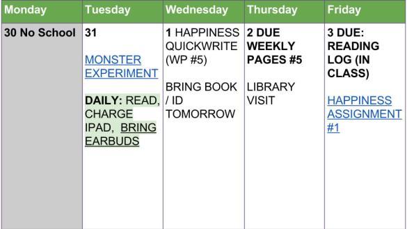 Week of Oct. 31 to Nov. 3 Agenda